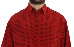 Load image into Gallery viewer, Red Black Polka Silk Polo T-shirt