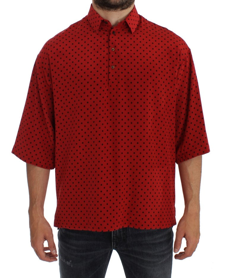Red Black Polka Silk Polo T-shirt
