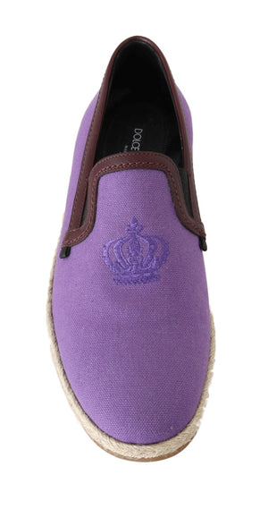 Load image into Gallery viewer, Purple Cotton Leather Crown Loafers