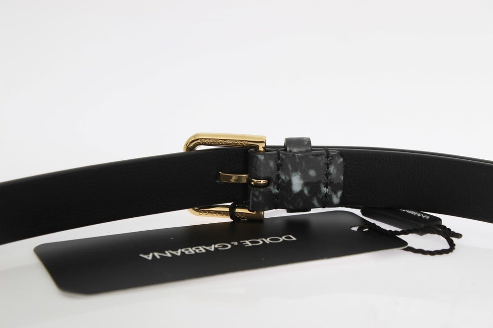 Load image into Gallery viewer, Gray Leather Gold Buckle Belt
