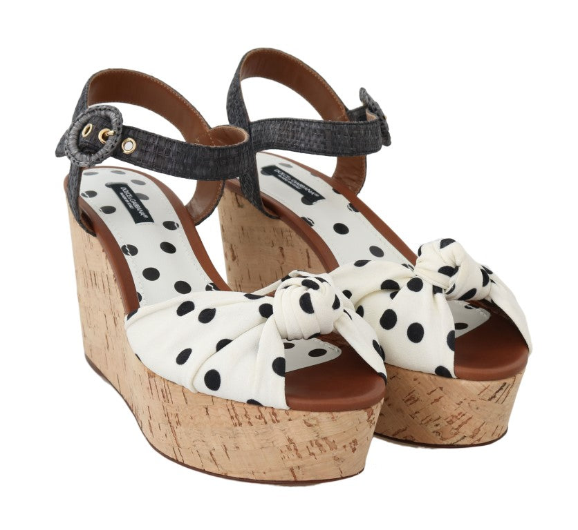 Load image into Gallery viewer, White Black Wedges Platform Sandals