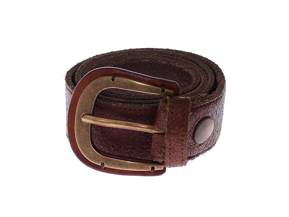 Load image into Gallery viewer, Brown Leather Logo Waist Gold Buckle Belt - Go for Brands