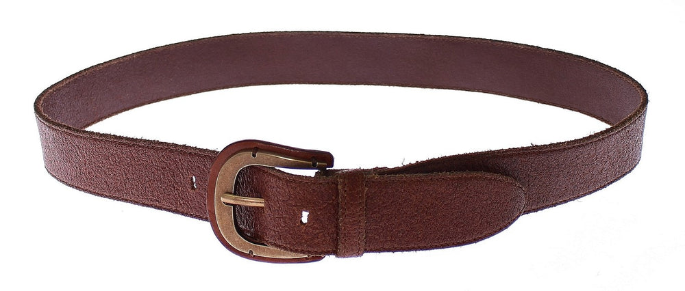 Brown Leather Logo Waist Gold Buckle Belt - Go for Brands