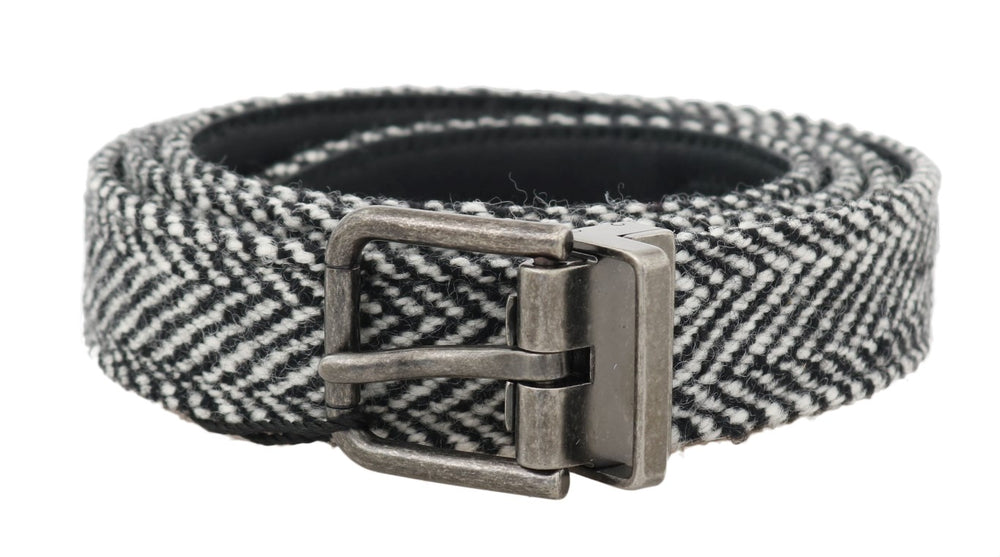 Black White Chevron Wool Leather Belt - Go for Brands