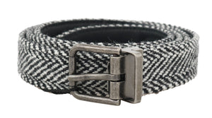 Load image into Gallery viewer, Black White Chevron Wool Leather Belt - Go for Brands