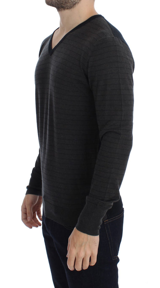 Load image into Gallery viewer, Gray Black Striped V-neck Sweater