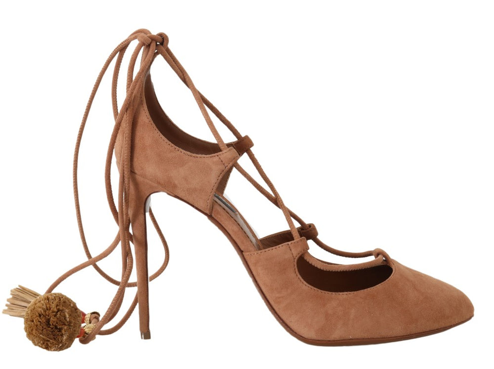 Load image into Gallery viewer, Beige Suede Tassel Ankle Strap Pumps