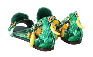 Load image into Gallery viewer, Multicolor Banana Leafs Crystal Fur Sandals