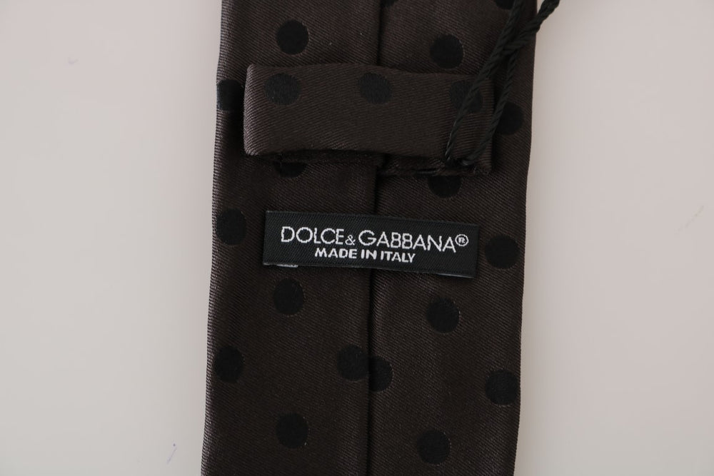 Load image into Gallery viewer, Brown Silk Black Polka Dot Classic Tie - Go for Brands