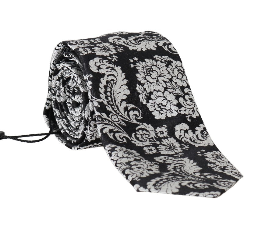 Black Silk Baroque Floral Print Tie - Go for Brands