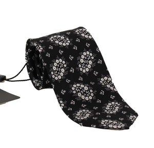 Load image into Gallery viewer, Black Silk White Floral Print Tie