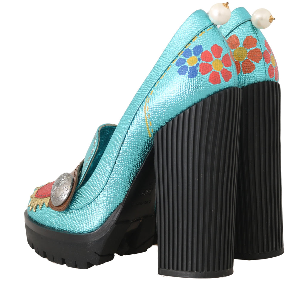 Load image into Gallery viewer, Leather Handpainted Heart Pumps
