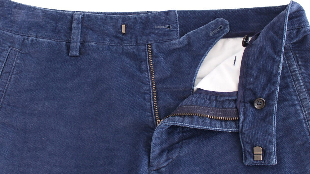 Load image into Gallery viewer, Blue Cotton Straight Fit Casual Pants