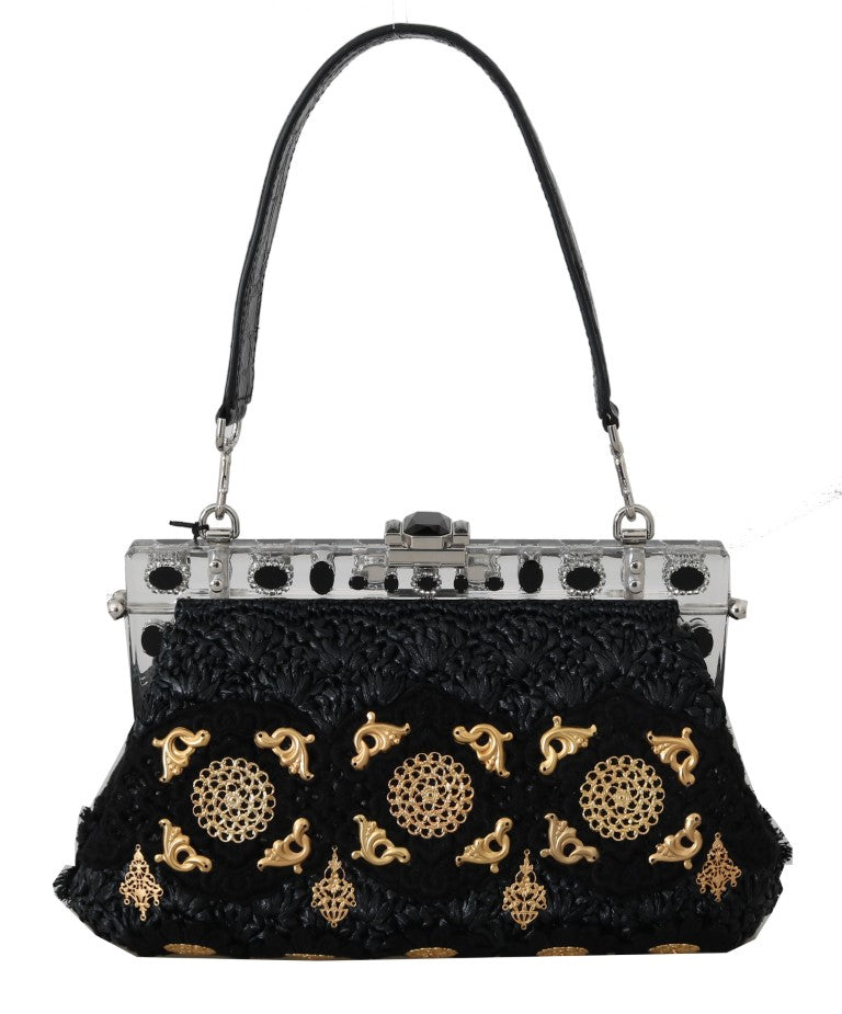 Load image into Gallery viewer, VANDA Black Crystal Tassel Gold Charms Party Bag
