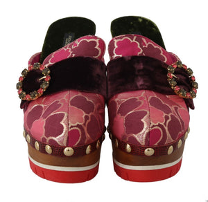 Load image into Gallery viewer, Pink Jacquard Crystal Slides Mules