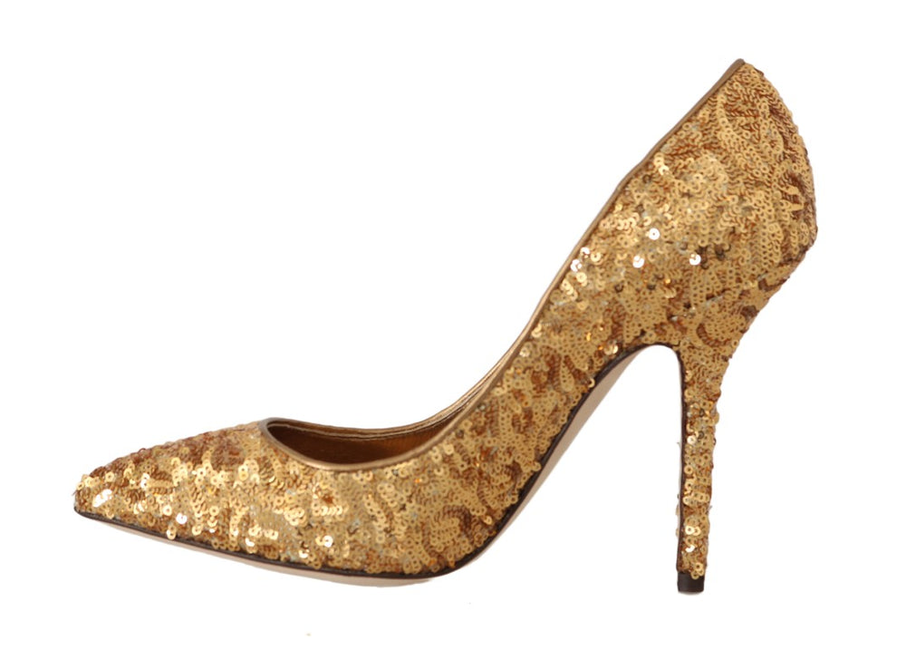 Load image into Gallery viewer, Gold Sequined Leather Pumps Heels