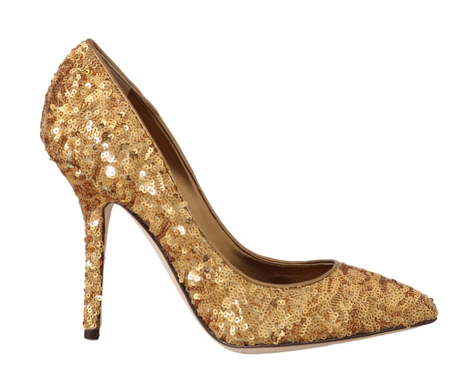 Gold Sequined Leather Pumps Heels