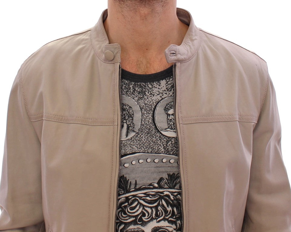Load image into Gallery viewer, Beige Leather Jacket Biker Coat