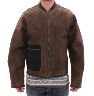 Load image into Gallery viewer, Brown Gray Leather Jacket Coat