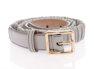 Load image into Gallery viewer, Gray Leather Logo Belt