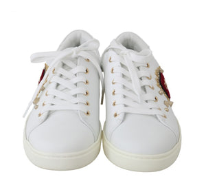 Load image into Gallery viewer, White Leather Gold Red Heart Sneakers