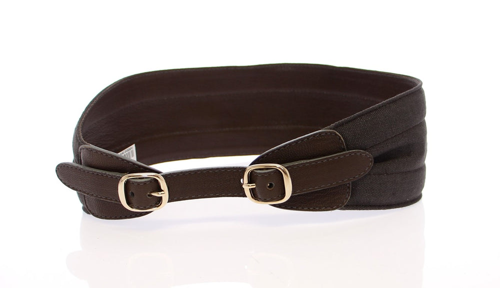 Load image into Gallery viewer, Brown Leather Linnen Logo Belt