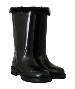 Load image into Gallery viewer, Black Leather Lapin Fur Boots