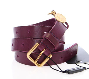 Load image into Gallery viewer, Purple Leather Gold Logo Belt