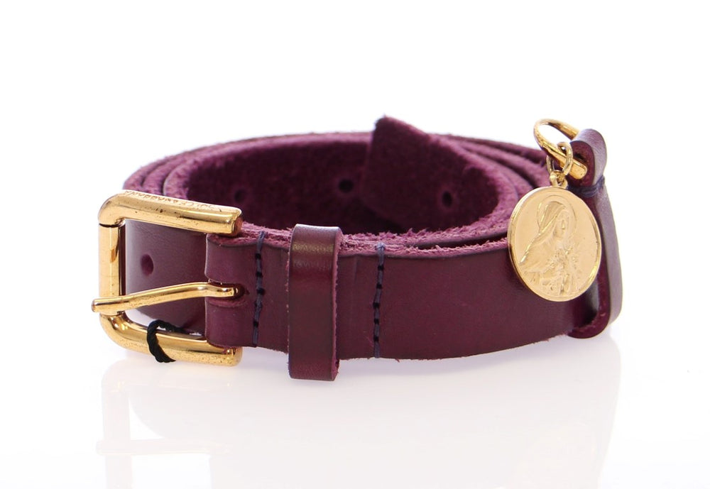 Purple Leather Gold Logo Belt