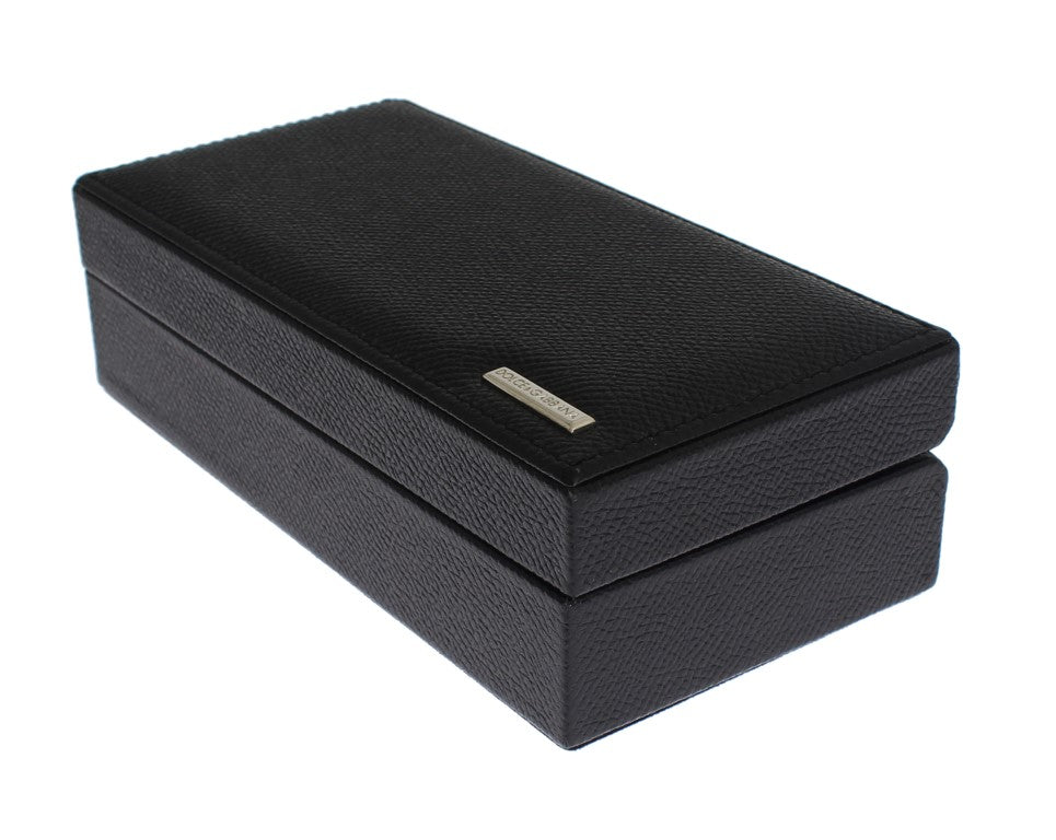 Black Leather Ring Cufflinks Organizer Box - Go for Brands