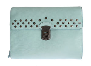 Load image into Gallery viewer, Blue Leather Studded Document Portfolio Briefcase Bag