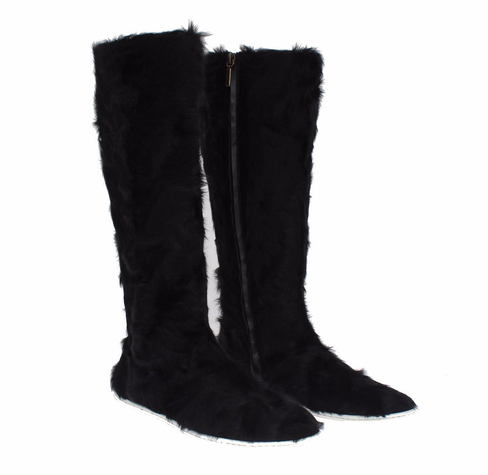 Load image into Gallery viewer, Black Xiangao Lamb Fur Leather Boots