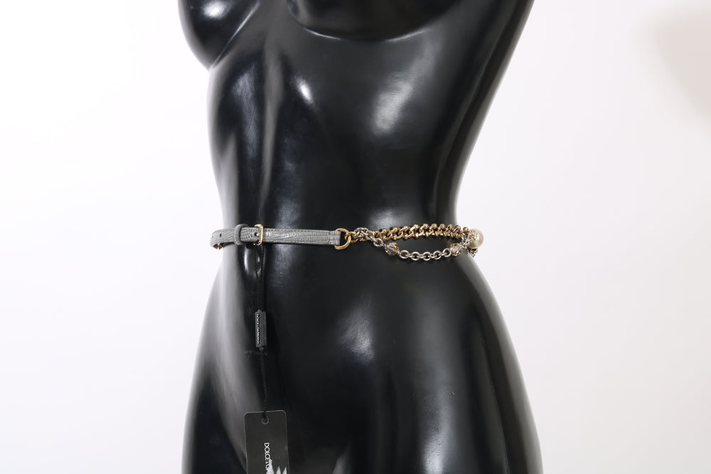 Load image into Gallery viewer, Gray Leather Gold Chain Crystal Pearl Belt