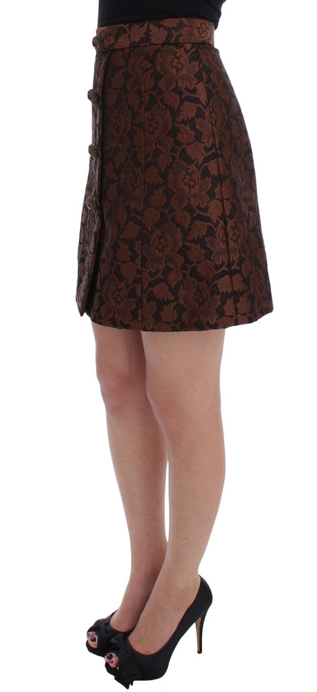 Load image into Gallery viewer, Brown Floral Brocade Mini Bubble Skirt