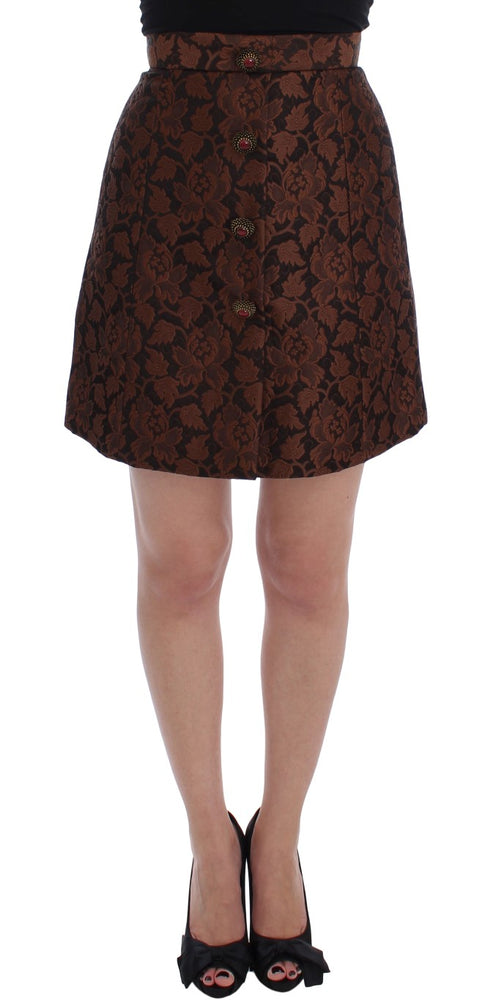 Brown Floral Brocade Mini Bubble Skirt