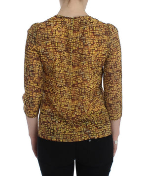 Load image into Gallery viewer, Multicolor Mosaic Print Silk Blouse T-shirt
