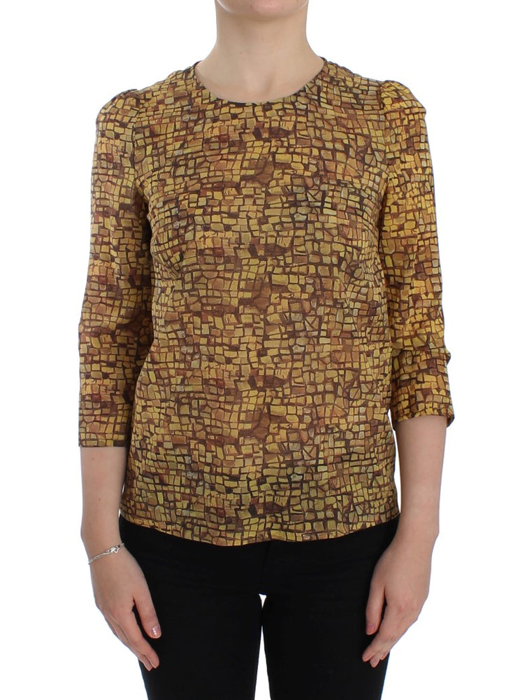 Multicolor Mosaic Print Silk Blouse T-shirt