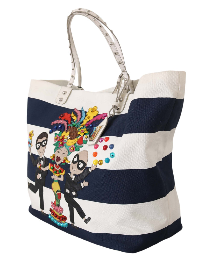 Load image into Gallery viewer, Blue White Canvas BEATRICE #dgfamily Shopping Tote Purse
