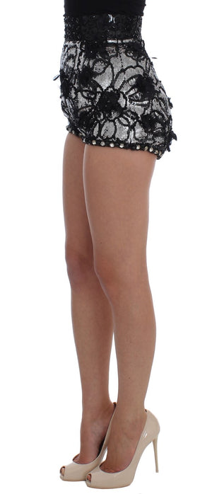 Load image into Gallery viewer, Black Crystal Sequined Mini Shorts
