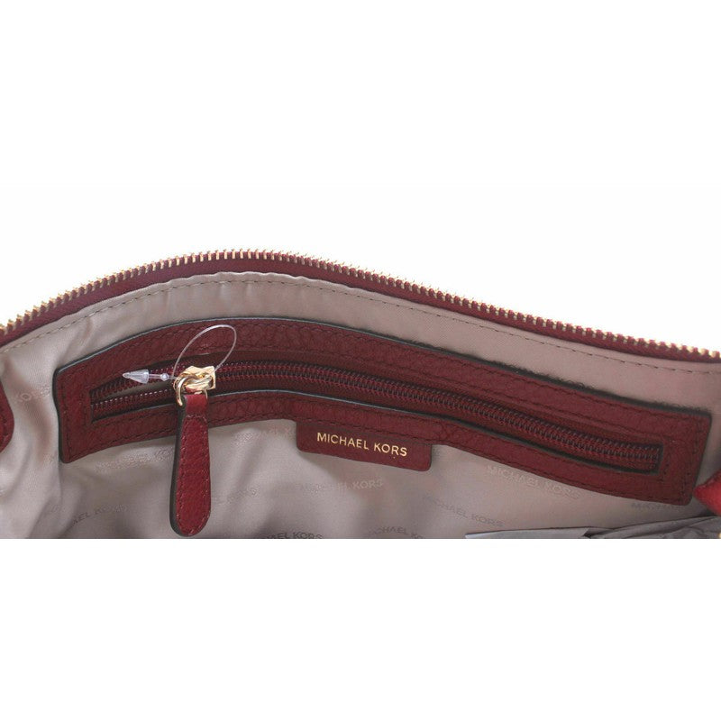 Load image into Gallery viewer, Adele Double Zip Maroon Red Pebbled Leather Crossbody Handbag