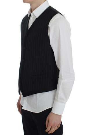 Load image into Gallery viewer, Black Striped Wool Silk Vest