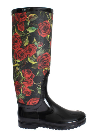 Load image into Gallery viewer, Black Roses Rubber Rain Boots
