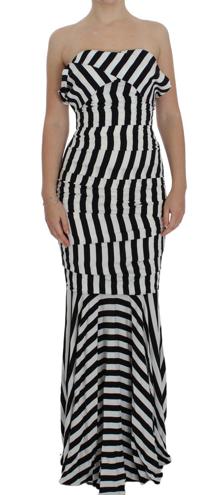 Black White Silk Stretch Dress