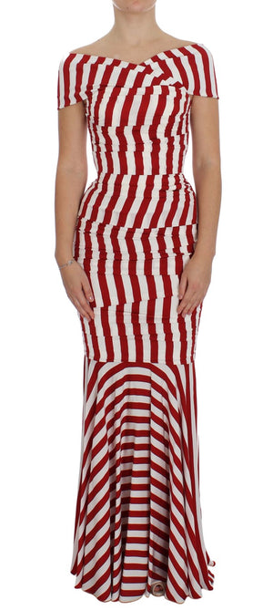 Load image into Gallery viewer, Red White Silk Stretch Dress