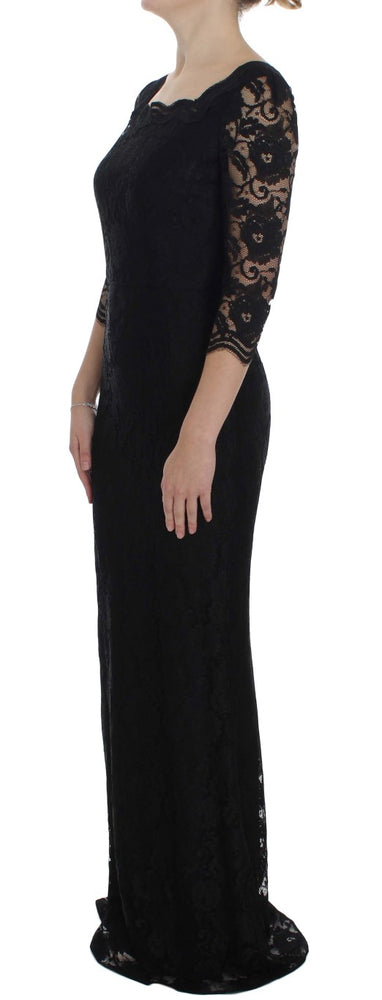 Load image into Gallery viewer, Black Floral Lace Long Ball Maxi Dress