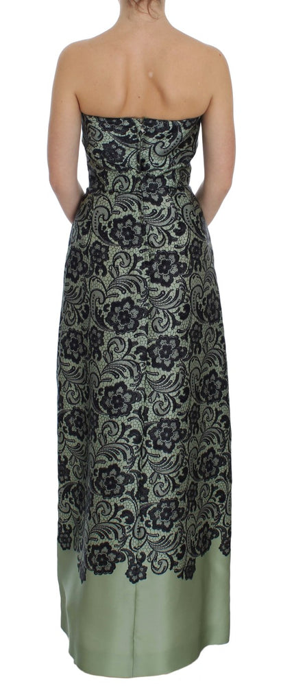 Load image into Gallery viewer, Green Floral Lace Silk Corset Maxi Dress