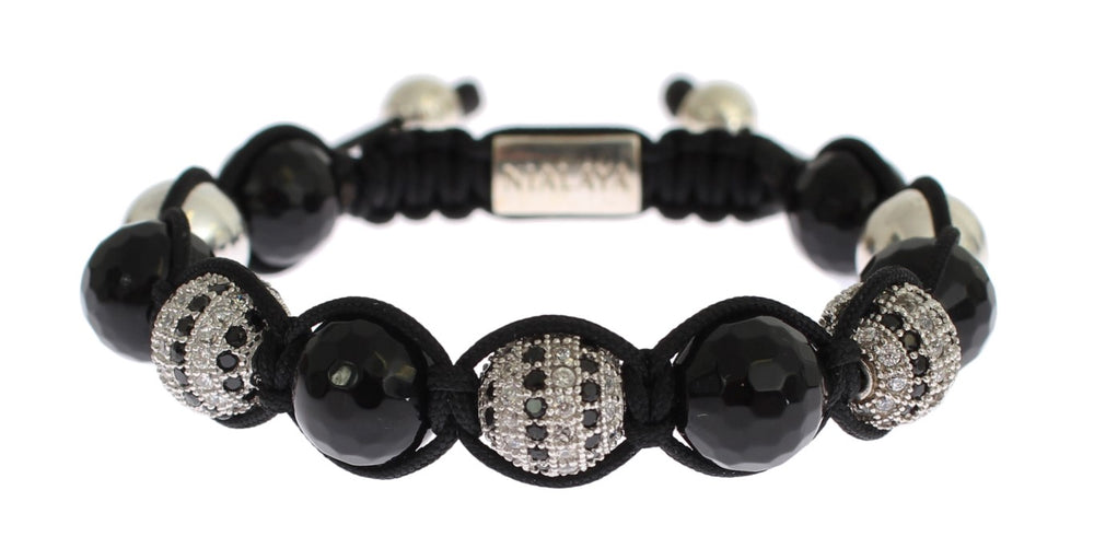 Load image into Gallery viewer, Clear CZ Black Agate 925 Silver Bracelet