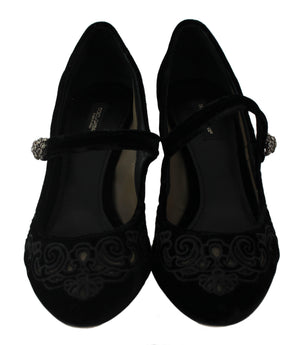 Load image into Gallery viewer, Black Embroidered Velvet Heels Pumps Shoes