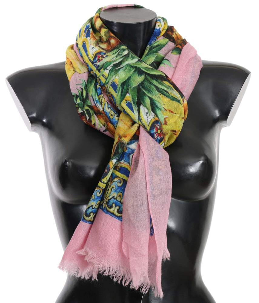 Pink Pineapple Print Cashmere Shawl 130cm x 190cm Scarf