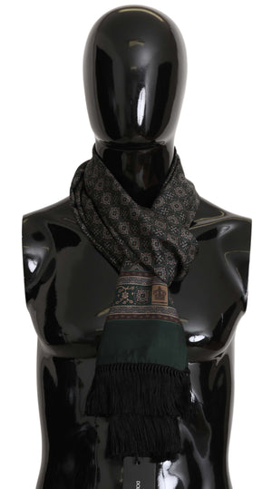 Load image into Gallery viewer, Green Baroque Print Silk Fringes Wrap Scarf